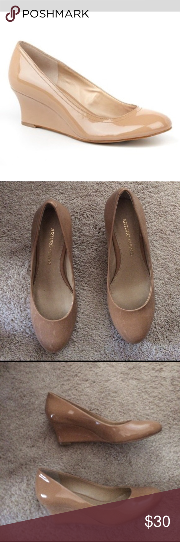 d6fa710e0b89 Classy Tan Wedges Arturo Chaing Arora Tan Patent Leather Wedges. Better  than very good used condition. Arturo Chiang Shoes Wedges