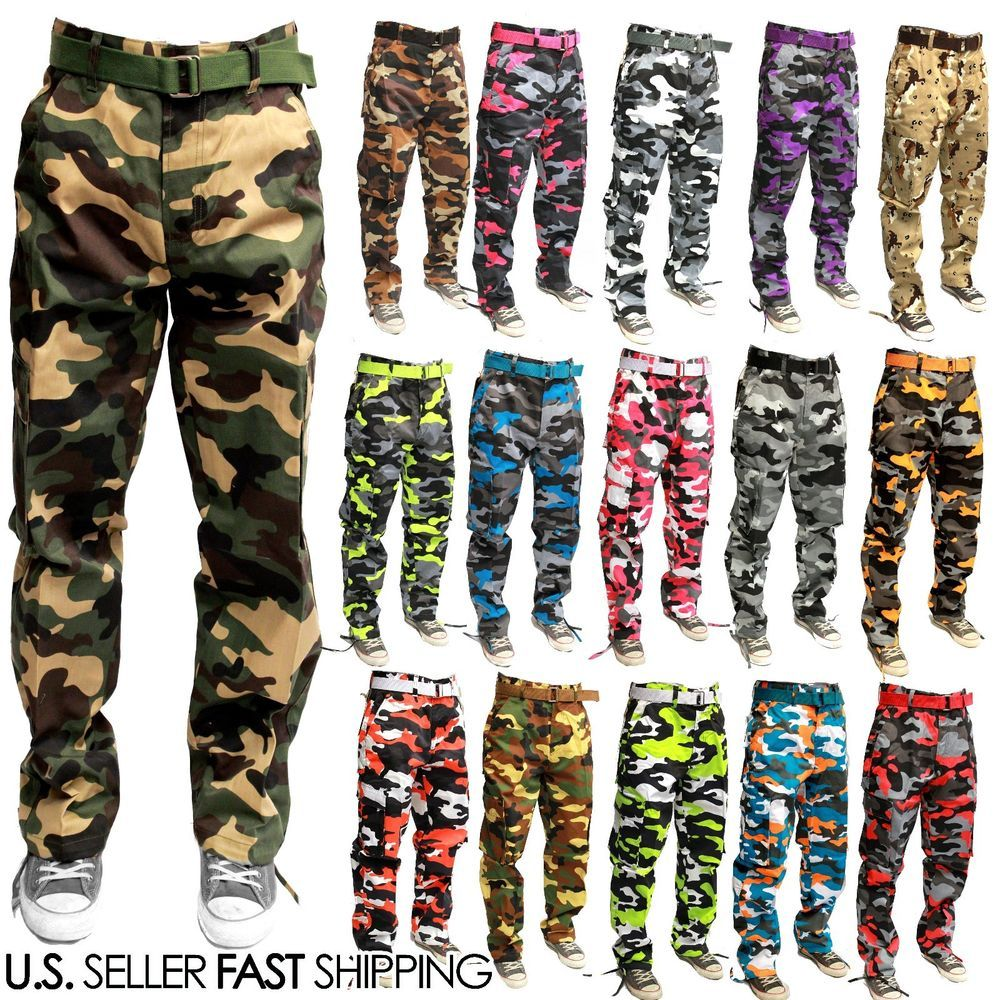 MEN MILITARY ARMY CAMOFLAUGE COLORFUL CARGO PANT COMBAT CARGO PANTS TROUSERS