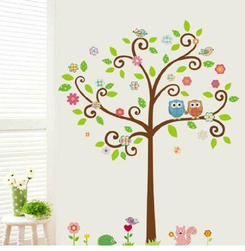 Dibujos de ramas de arboles con buos en pared imagui - Papel pintado ramas arbol ...