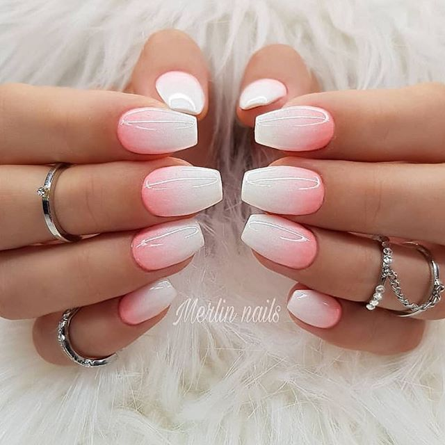 Coral White Ombre Nails Ombre Acrylic Nails Ombre Nails Coral Ombre Nails