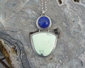 Chrysoprase & Lapis Multi Stone Sterling Silver Necklace