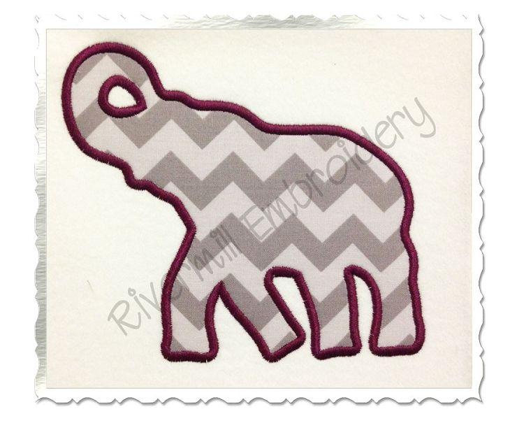 $2.95Applique Elephant Silhouette Machine Embroidery Design