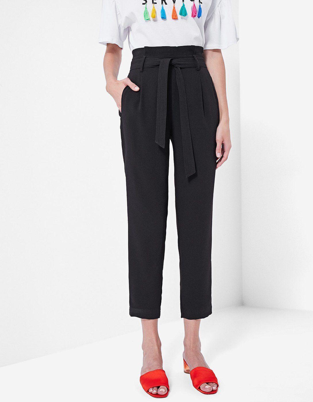 Pantalón paperbag fluido - Pantalones  ad58ddc8435e