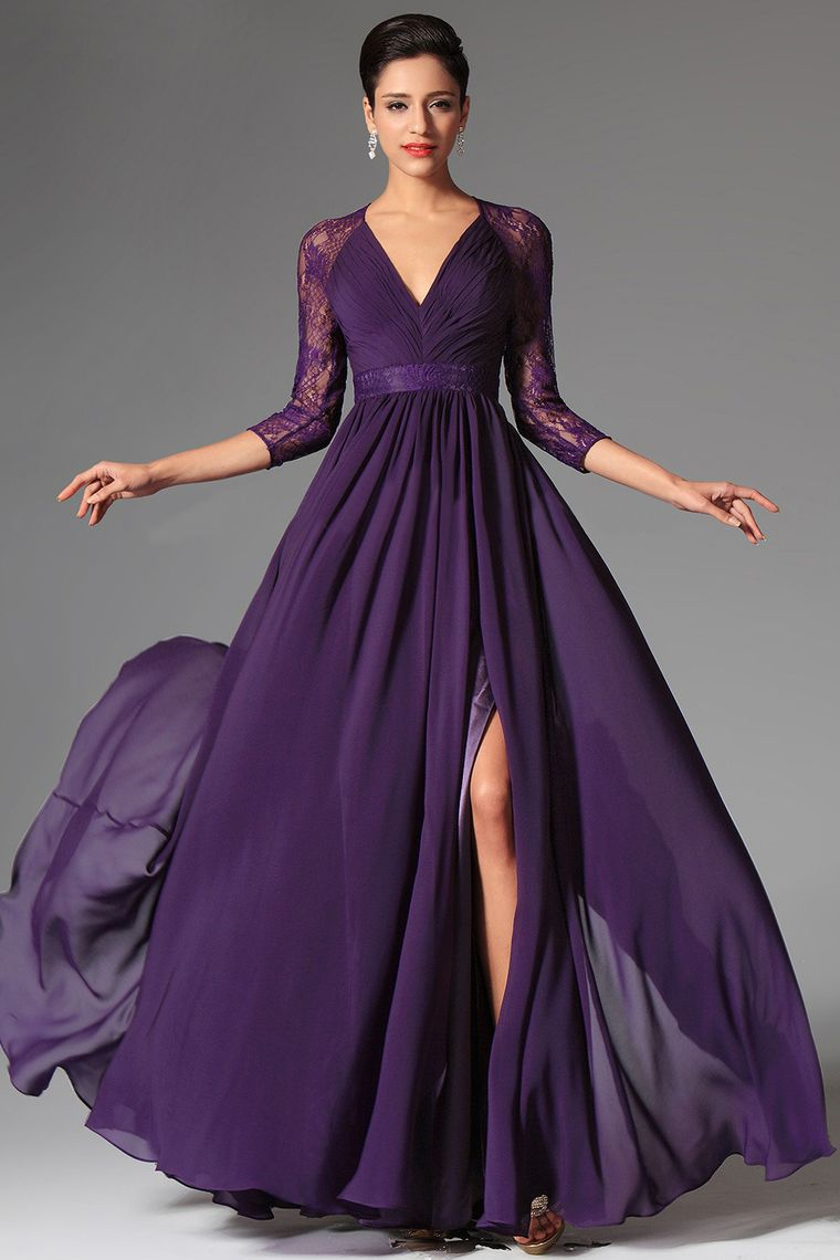 Long vneck length sleeve chiffon prom dress picture