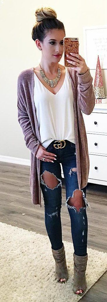 winter  fashion   Pink Cardigan   White Blouse   Destroyed Skinny Jeans    Green Open Toe Booties 6dd5565d33