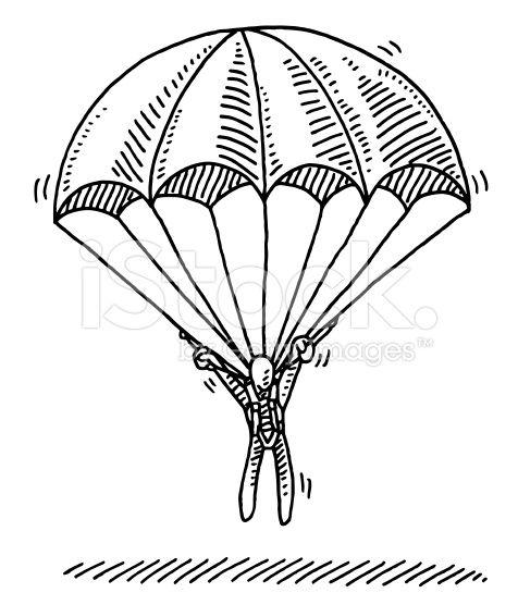Hand Drawn Vector Drawing Of A Stick Figure Hanging On Parachute