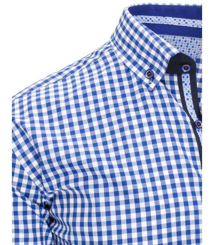 56401fb4dcc1 Biela pánska kockovaná košela s krátkym rukávom