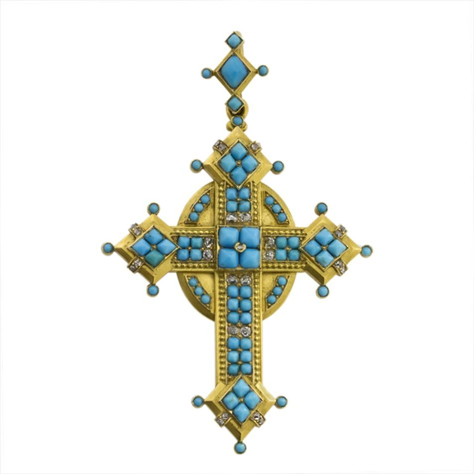 A Victorian turquoise and yellow gold cross pendant -