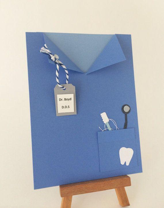 Dentist Card Dentistry School Blue Lab Coat By CallMeCraftie Birthday Graduation