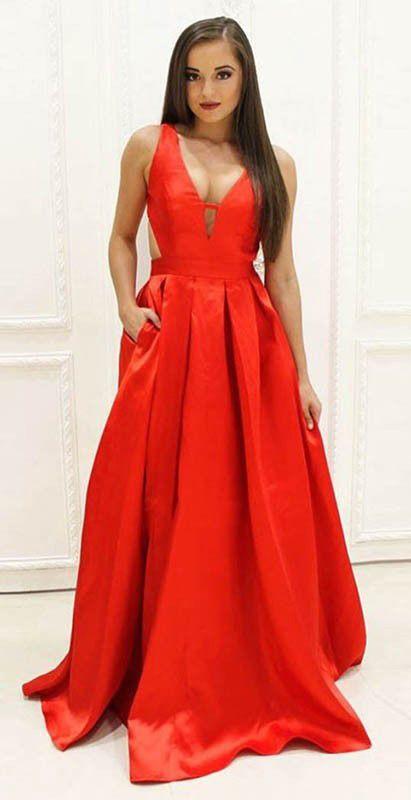 A-Line V-Neck Floor-Length Orange Satin Prom Dress with Pockets ... bd168c361