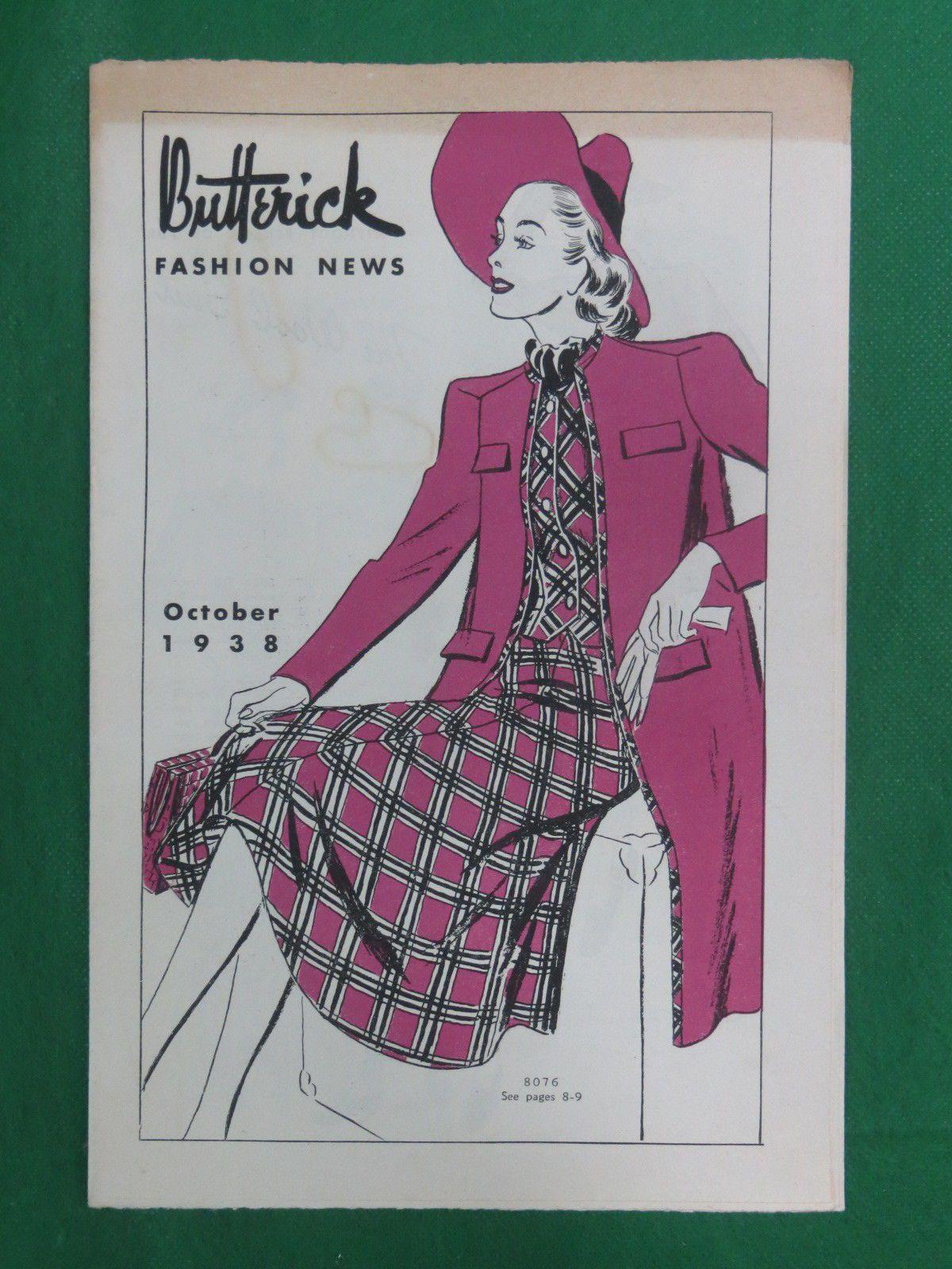 Butterick Fashion News, October 1938 featuring Butterick  8076