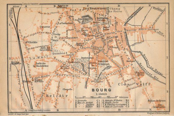 Marseille France City Map Lithograph 1892 old historical map antique print