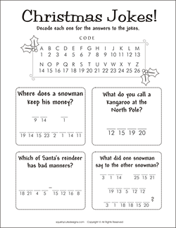 christmas jokes for kids christmas riddles kids party games activities decode a message game we also have christmas coloring pages too - Childrens Christmas Jokes