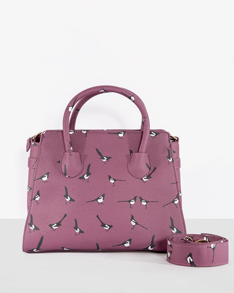Tonja Burgundy Magpie Print Handbag Vintage Inspired Fashion Lindy Bop