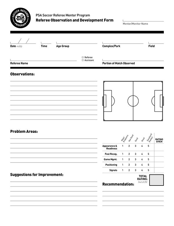 Document Design Psa Soccer Referees Evaluation Form On Behance