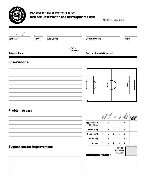 Document Design PSA Soccer Referees Evaluation Form on Behance - program evaluation forms