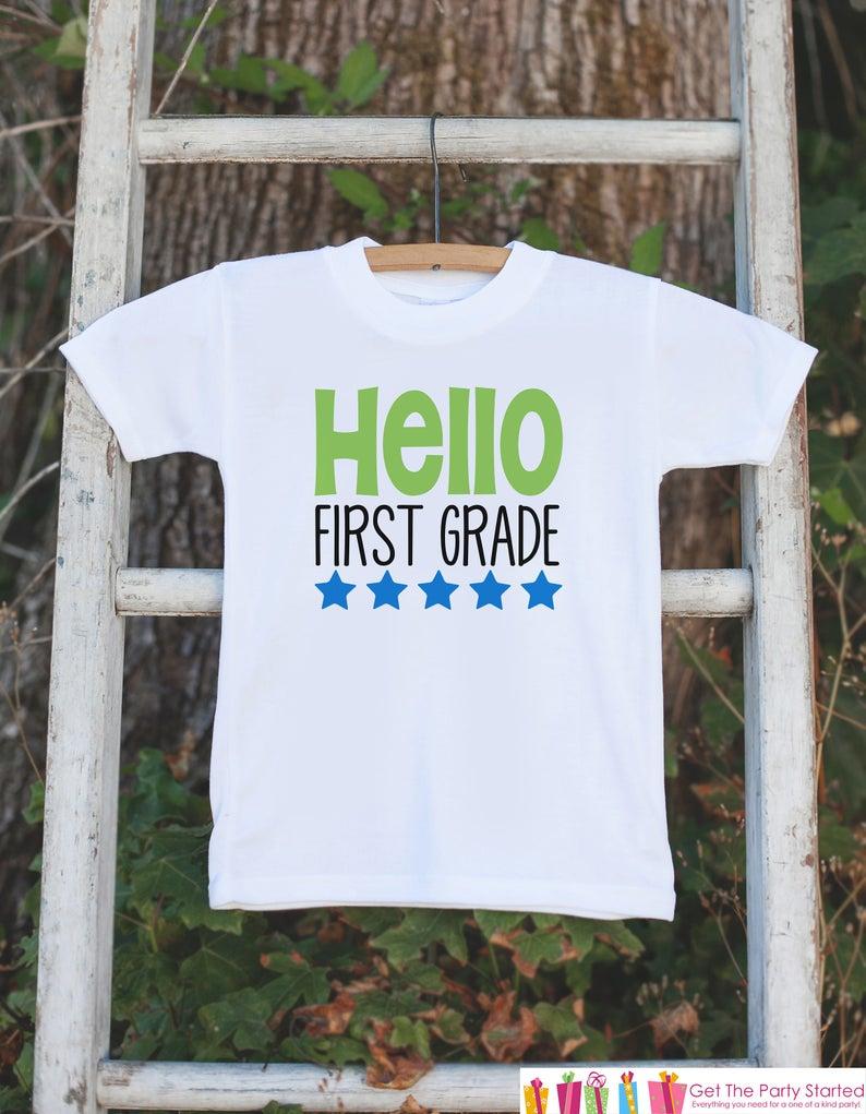Back to School Shirt - Hello First Grade Shirt - Boys Back To School Outfit - First Day of 1st Grade Tshirt - Boy Back to School T-shirt #firstdayofschooloutfits