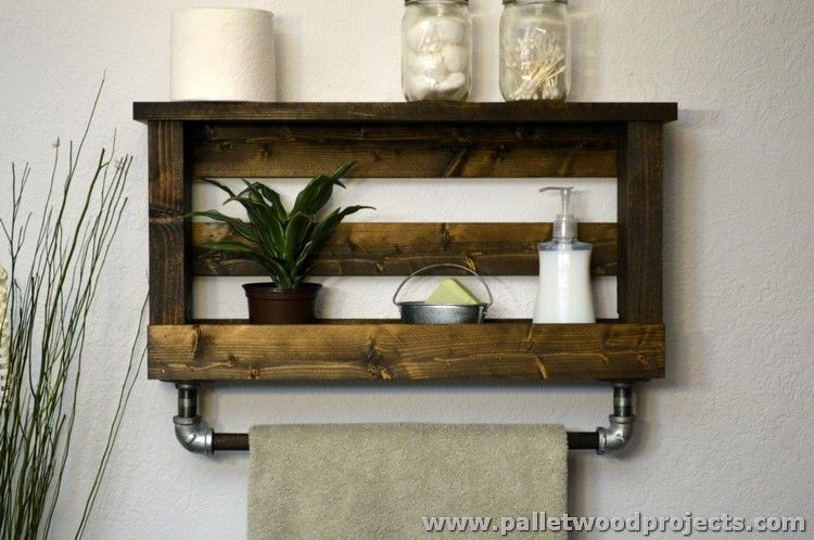 Incroyable Pallet Bathroom Shelf