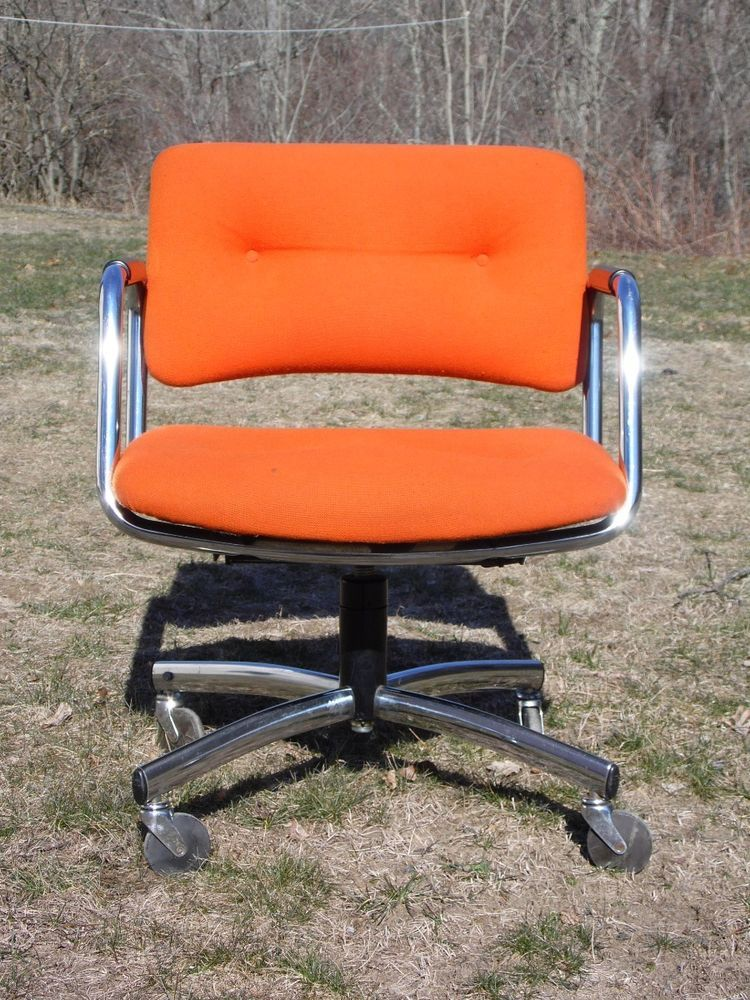 Steelcase Vintage Chair Covers For Sale Australia Mid Century Modern Swivel Rolling Office Arm Orange 70 S