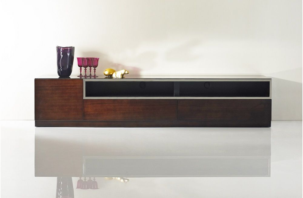 Dark wood tone entertainment TV stand with glass top The TV base is