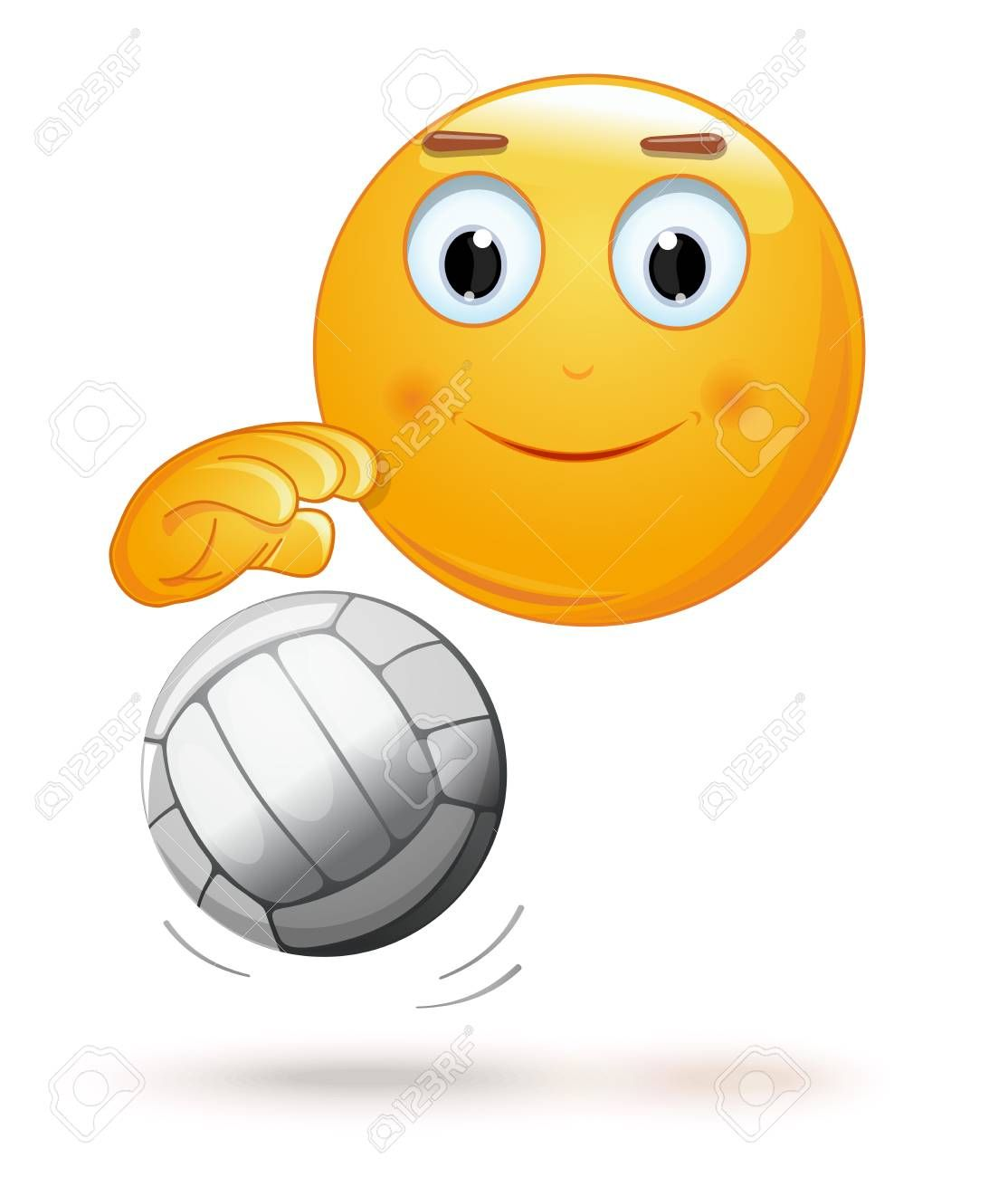 Emoticon Face Playing Volleyball Cheerful Smiley With A Ball Emoji And Ball For Playing Volleyball Vector Illustration Sponsored Emoticon Smiley Emoji