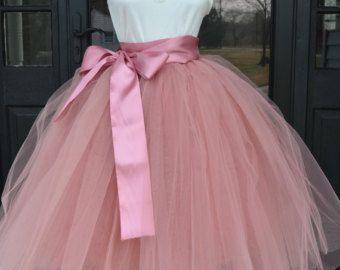 Girls Dusty Rose Tutu, Rose Pink Tulle skirt, Mauve Pink tutu, tulle skirt, ballet skirt, flower girl , wedding skirt, Rustic Wedding
