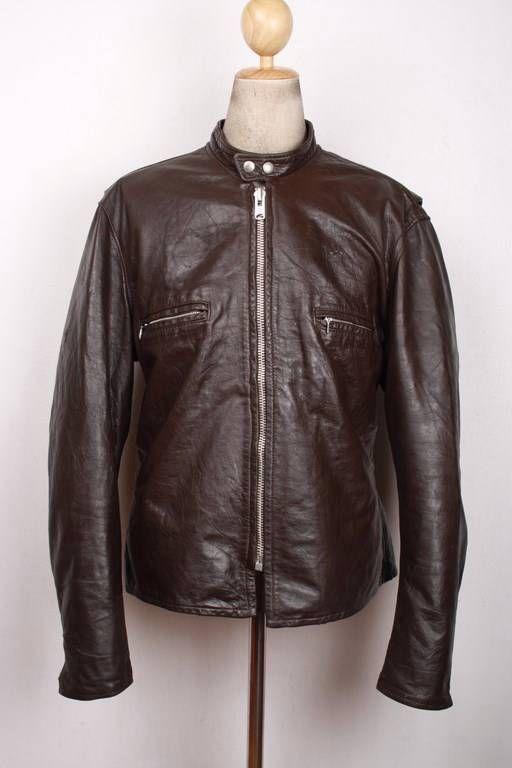 Vtg 70s HARLEY DAVIDSON AMF Cafe Racer Leather Motorcycle Jacket Size 48