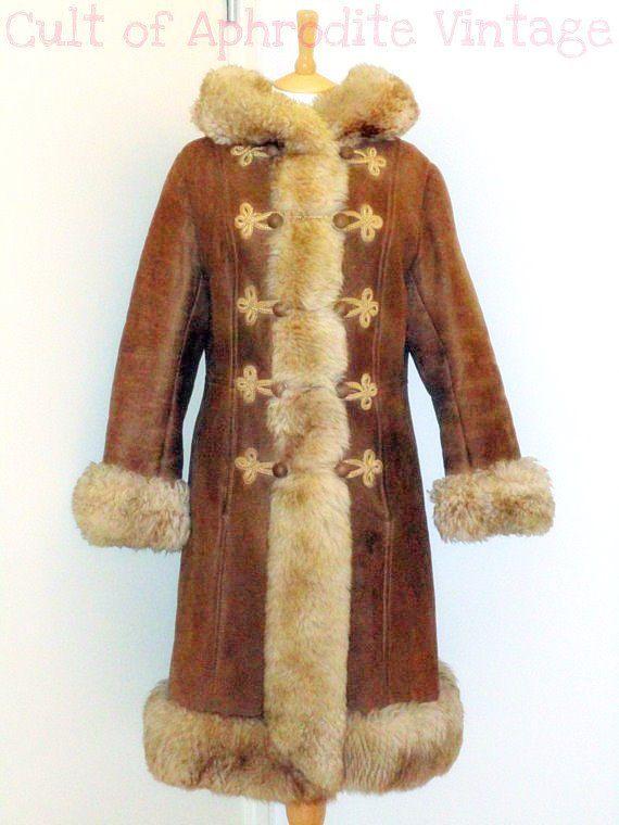 Vintage 70s Afghan Suede Sheepskin SHEARLING Hooded Hippie Boho ...