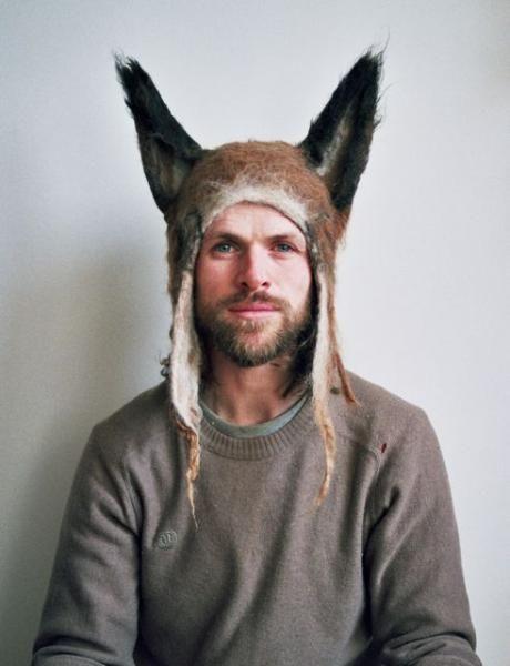 Gray Beetle Hat  Ears HatMan Hat Animal Hat  Horns hat  Winter Hat  Millinery Hat Hand Felted Wool All SizesAdultToddler Men Gift