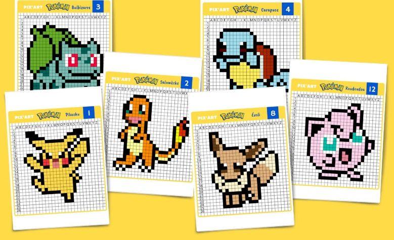 Pixel Art Pokemon : Pikachu, Salamèche, Bulbizarre, etc à imprimer | Pixel art pokemon, Pixel ...