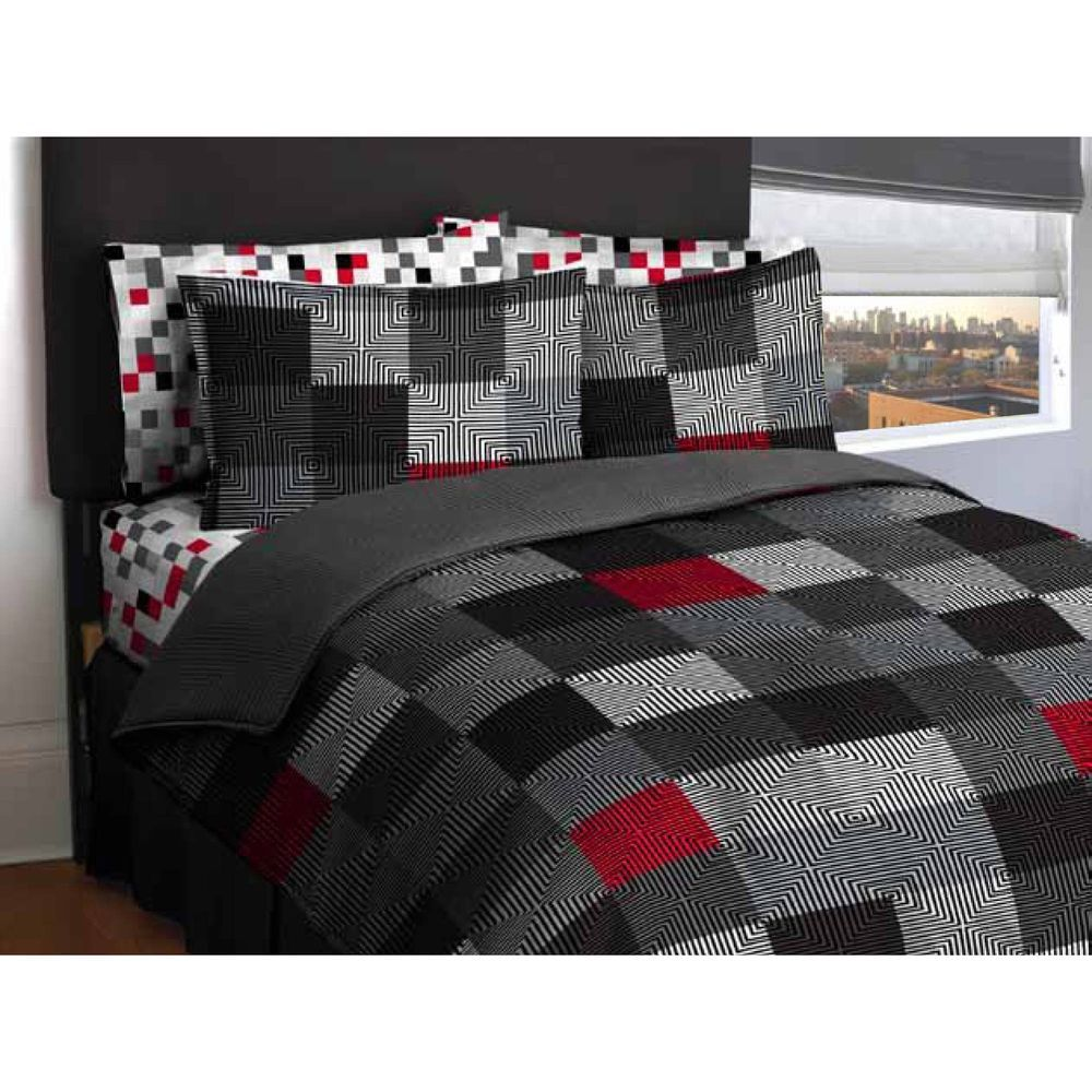 New Geometric Pattern Bed In A Bag Bedding Comforter Set Gray Red Black Twin Latitude Grey Bedding Beige Bedding Sets Bed In A Bag