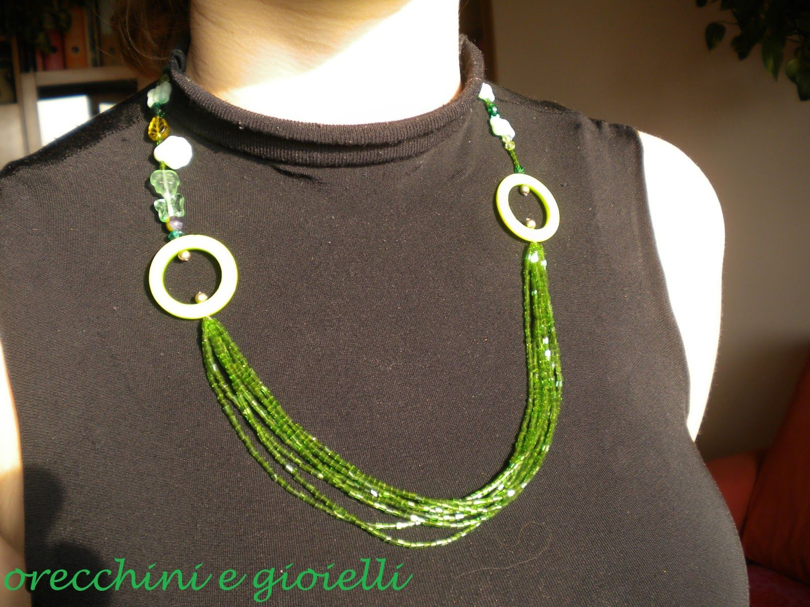 """""""Edera"""" Necklace $16: Multi-Strand Green Beads, Green Mother-Of-Pearl Circles, Green Glass Beads, Green Mother-Of-Pearl Flower And Green Half Crystals Necklace"""