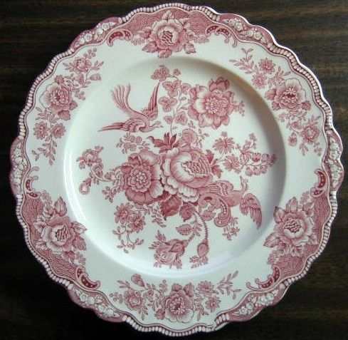 Pink Red Toile Rose Exotic Bird Paris Chinoiserie Plate L & Red and White Toile Plates | Decorative Dishes - Shabby Pink Red ...