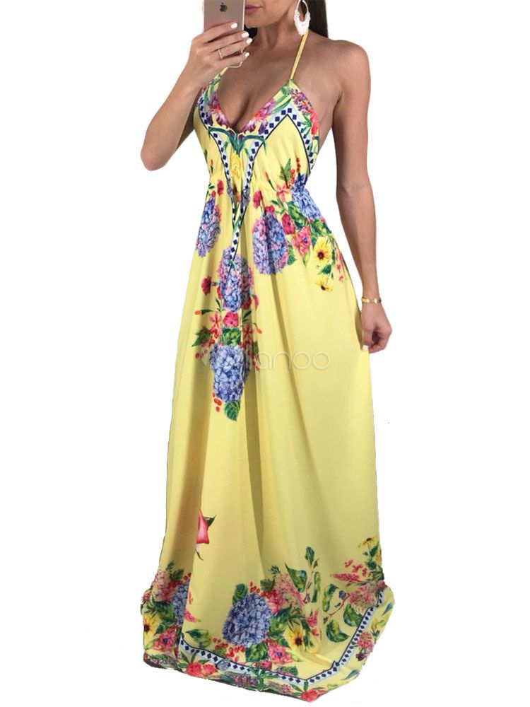 Women Off Shoulder Halter Neck Backless Dress Bohemian Floral Print Sleeveless Loose Split Knee-Length Beach Sundress