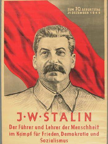 Stalin אומנות ורודנות סטימצקי פוסטר ממזרח גרמניה שהופק לכבוד