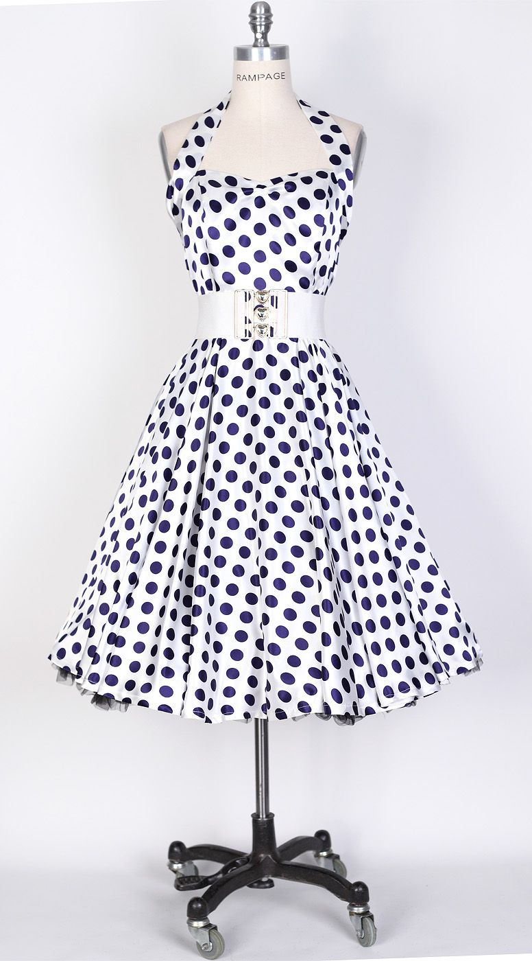 2b1a137b5f 50s Big Navy Blue Dot/White Polka Dot Swing Satin Dress | Polka dots ...