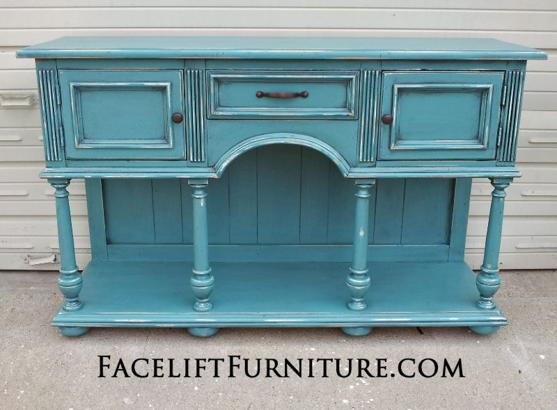 Buffet Repurposed Into Media Console In Sea Blue And Black Glaze Distressing Revealing White