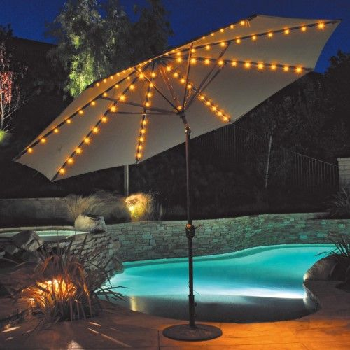 Incroyable Auto Tilt Patio Umbrella With LED Umbrella Lights, Yellow