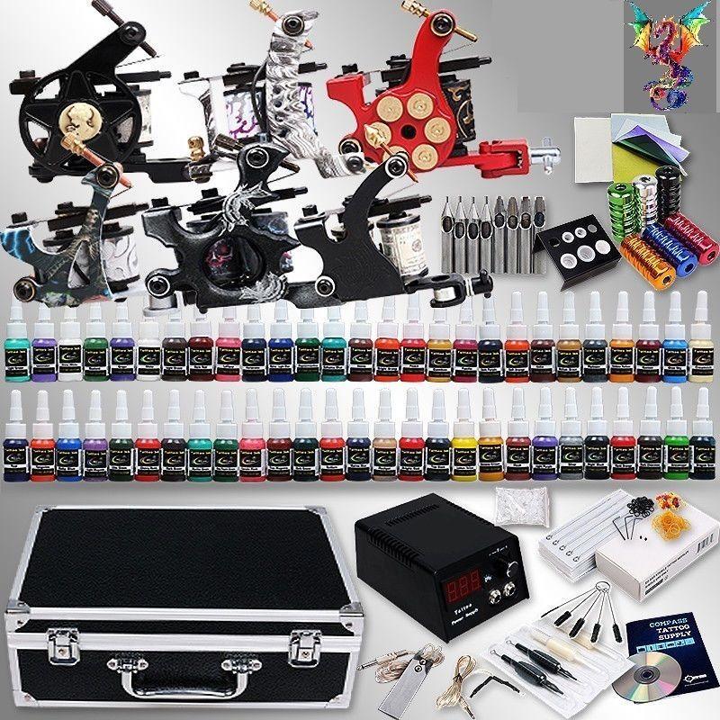 Dragon Complete Tattoo Kit 6 Machine Guns 54 Ink Equipment Needle Power Supply Tattoo Machine Kits Tattoo Equipment Tattoo Kits