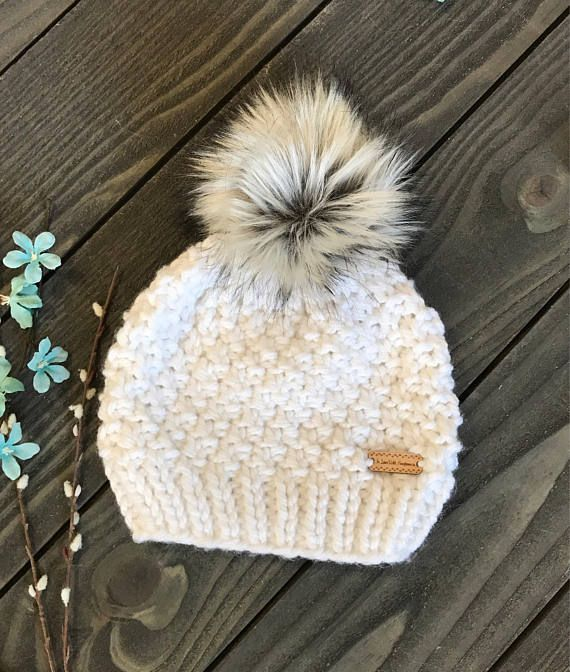 a13ca5803c9 Faux Fur Pom Pom Beanie - Slouchy beanie - Chunky knit hat - winter hat -  Beanie with faux fur pom p