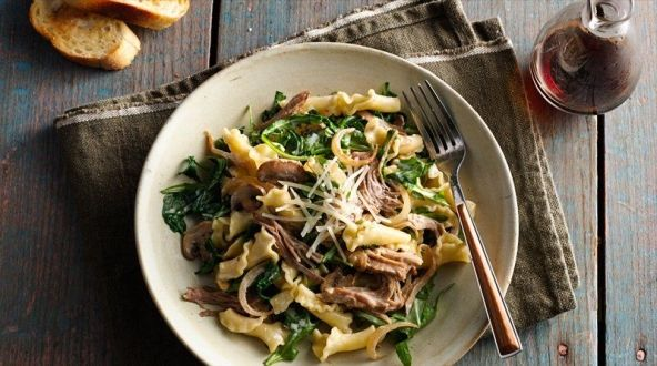 NEW Creamy Pulled Pork Pasta with Caramelized Onions