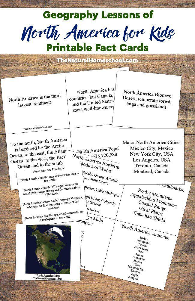 Geography Lessons of North America for Kids Printable Fact Cards