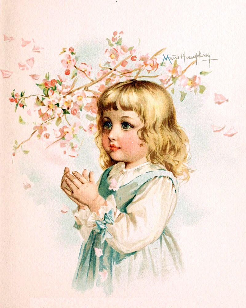 Девочка старинная открытка