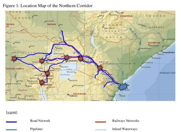 East Africa Road Map.Norther Corridor East Africa Transport Network East