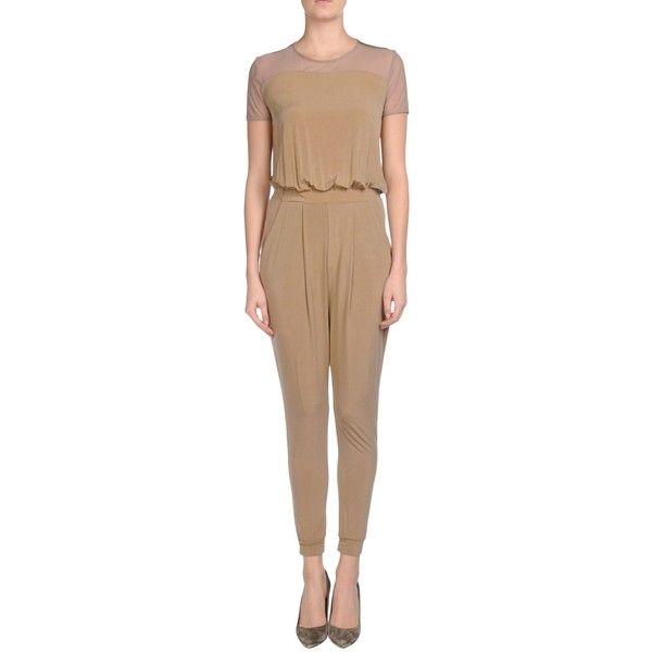 Siste' S Jumpsuit ($65) ❤ liked on Polyvore featuring jumpsuits, khaki, jersey jumpsuit, short sleeve jumpsuit, jump suit, beige jumpsuit and khaki jumpsuit