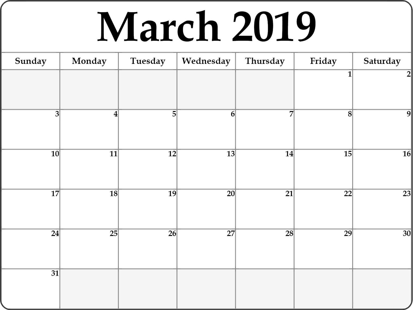 Blank March 2019 Calendar Printable Blank Monthly Calendar