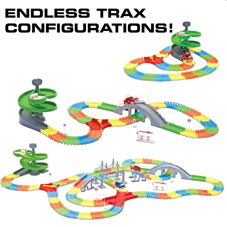 Amazon Com Glow Race Tracks For Boys 360pk Light Up Snap N Glow In The Dark Magic Rainbow Race Tracks For Kids W Lig Kids Toys For Boys Race Track Toy