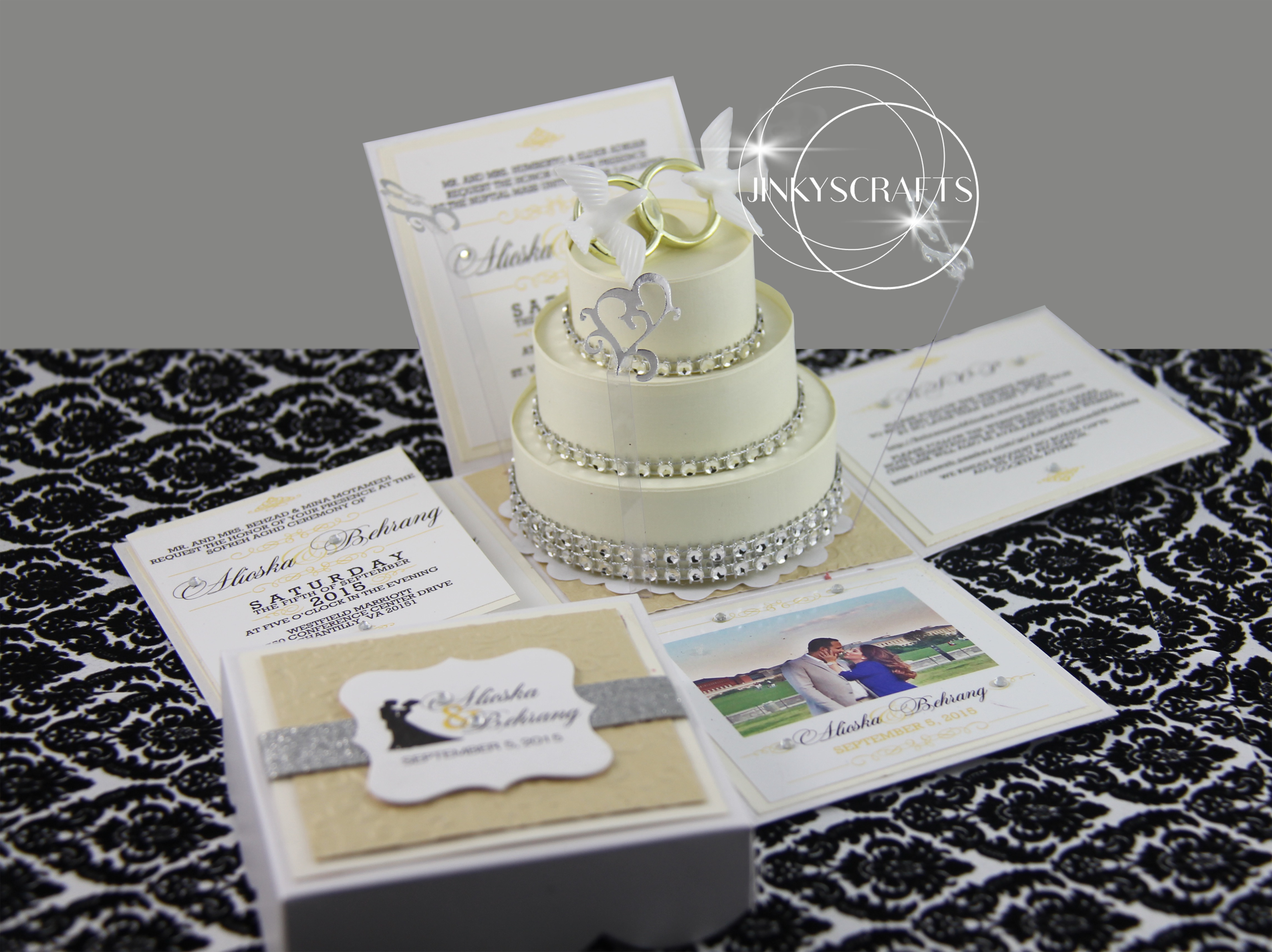 When You Open This Exploding Box Wedding Invitation Pop Up A Luxurious 3tier: Wedding Invitations With Rhinestones At Reisefeber.org