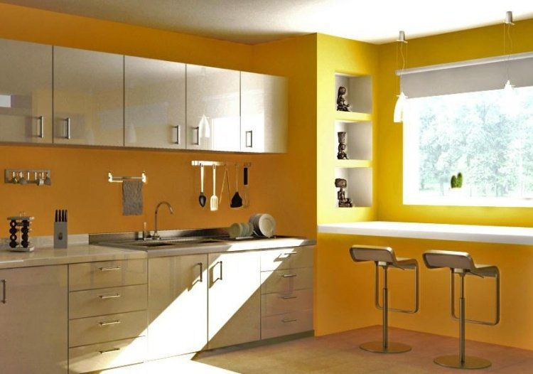 Peinturecuisinejauneaudacieuxarmoiresblanccasséjpg - Cuisine jaune et blanche pour idees de deco de cuisine