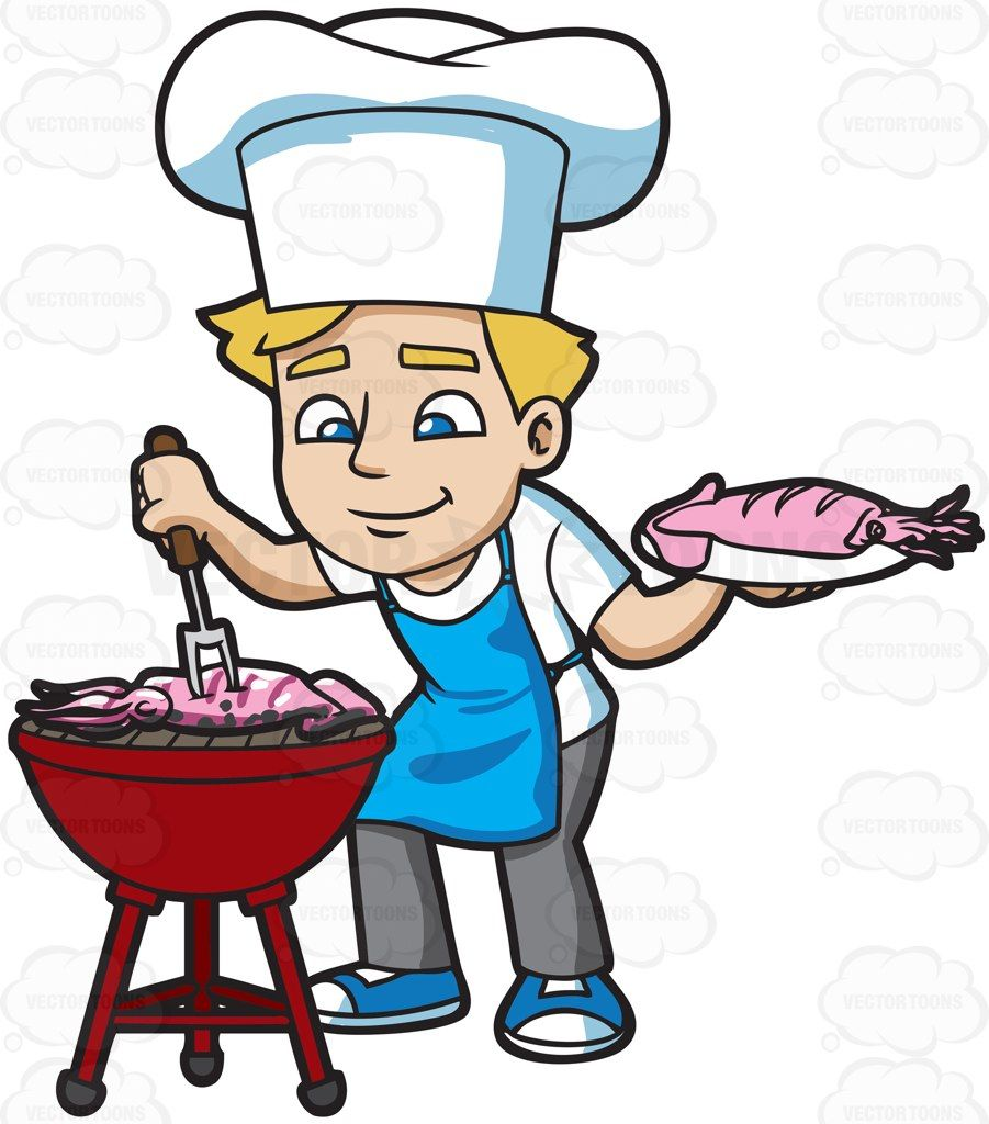 A man grilling seafood :  A man with blonde hair wearing a white chefs hat shirt blue apron gray pants blue with white sneakers smirks as he gathers the pink squid hat he is grilling on a red griller with a fork in his right hand left hand holding a white plate with a pink squid  The post A man grilling seafood appeared first on VectorToons.com.
